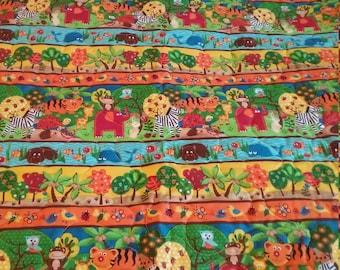 "Handmade Baby Quilt  Animals Tiger Elephant Monkey  Baby Quilt 37"" x 41 1/2"""