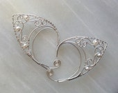 Argentium silver elf ears with pearls
