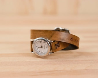 Leather Watch - Personalized Double Wrap Watch in the Smokey Pattern in Antique Brown - Custom Inscription Ladies Leather Watch