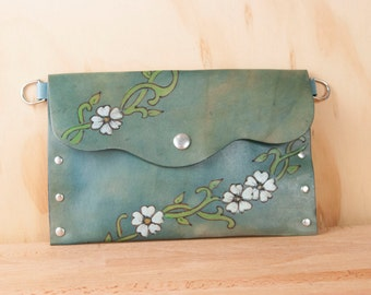 Envelope Clutch - Leather Wristlet, Clutch or Waist Pouch in the Willow pattern - Flowers and vines in white, green and blue