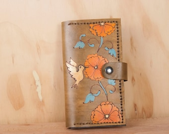 iPhone 6 plus Wallet Case - Leather in the Margot Pattern with Hummingbird and Flowers - Orange and Antique Black