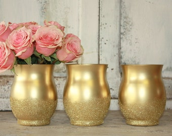 Ombre gold glitter vase, set of 12 gold vases for wedding centerpices, wide mouth gold vase, gold wedding table decor, bridal shower