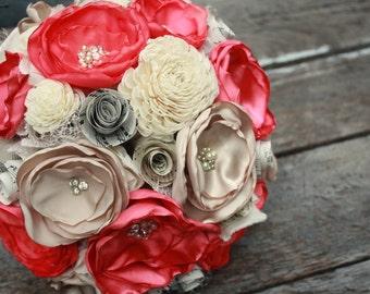 Coral wedding bouquet, bridal bouquet, coral fabric flower and sola flower bouquet, vintage sheet music, keepsake wedding bouquet