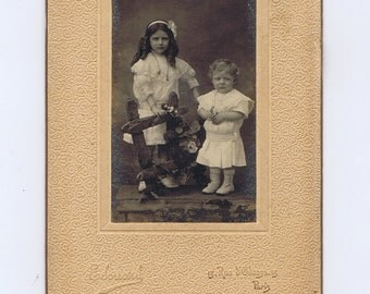 Siblings.Antique Cabinet Photograph.Victorian.Paper Ephemera.Retro.Craft Project.artist.collage.art.portrait.french.paris.collect.historical