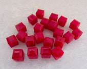 Contemporary Swarovski  Dark Red Coral Cube - 6mm - Lot of 10