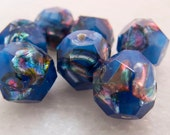 Vintage Antique Bohemian Handmade Hand Faceted Blue Satin with Rainbow Foil Lampwork Glass Focal Beads - 11mm - Lot of 7