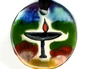 Flaming Chalice Ceramic Necklace in Rainbow