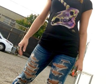 Unicorn Skull hand painted tshirt by Krisztina Lazar