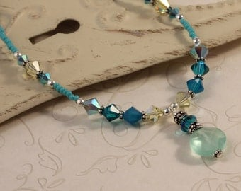 Ocean Crystal Necklace, Gemstone, Sparkly Swarovski Crystals, Sea Opal Glass, Blue Beachy, Sterling Silver, Gift For Her NAMA