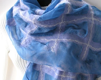 Nuno Felted Scarf for Women Hand Dyed Silk and Wool Scarf Pastel Plaid Blue Pink and Lavender Scarf Spring and Summer Shawl Fashion weddings