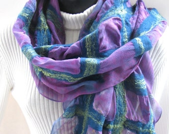 Nuno Felted Silk and Wool Scarf for Women Hand dyed Silk Merino wool plaid purple and teal scarf boho fun spring fashion accessory handmade