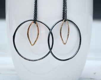 Black Gold Statement Artisan Earrings. Big Black Hoop Earrings. Gold Marquis Earrings. Oxidized Silver Hoops with Gold Geometric Accent. 056