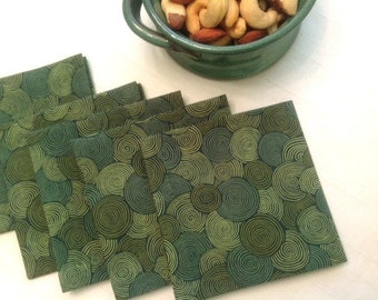 Set of 8 - Green Eco Friendly Cotton Cocktail Napkins, Fabric Cocktail Napkins Beverage Napkins