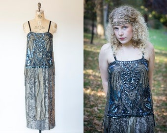 1920s Metallic lace Silver Lame Sequins Beaded Flapper Art Deco Dress wearable restored