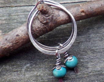 Blue Turquoise lil Hoops oxidized sterling silver petite hoop with removable turquoise dangle