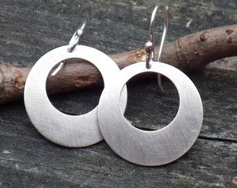 Sterling silver disk hoop dangle earrings