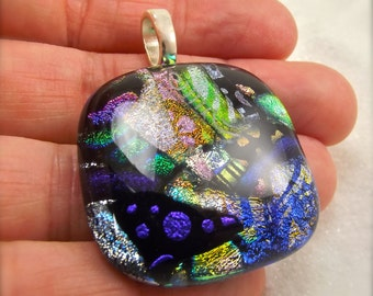 Modern dichroic jewelry, Fused dichroic glass, rainbow pendant, fused glass art, artisan jewelry, handmade, Hana Sakura, rainbow necklace