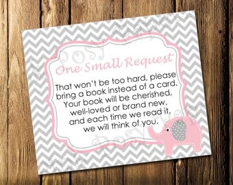 Printable Pink Elephant Girl Baby Shower Book Request Cards - Instant Download