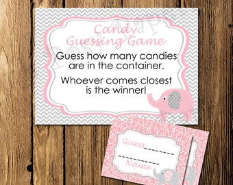 Printable Pink Elephant Baby Shower Candy Guessing Game - Instant Download