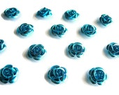 Blue Rose Cabochons, Metal Flowers, Floral Jewelry Supplies, 15mm