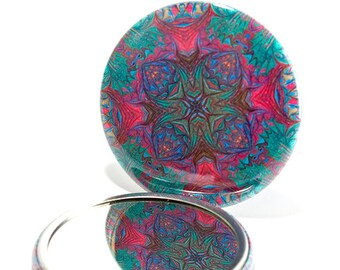 Pocket Mirror Mandala 12 Mandala Mirror, Geometric Mirror, Party Favor, Stocking Filler, Teacher Gift, Under 5 Dollars