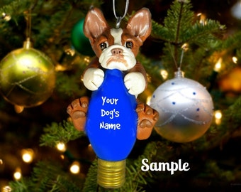 Brindle and White French BullDog Christmas Holidays Light Bulb Ornament Sally's Bits of Clay PERSONALIZED FREE with your dog's name