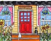 ON SALE Yellow Seaside Cottage cats - Print