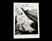 Vintage Japanese Postcard Woman in Beautiful Dress Throwing Lightning Ikazuchi Painted by Iwata Masami 1893-1988