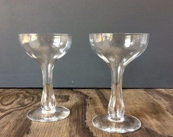 1950s Champagne Glasses - Champagne Coupes - Set of 2 - Hollow Stem Glasses