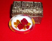 Reverse Carved Lucite Red Rose Oval Brooch ,Pin ,Good condition