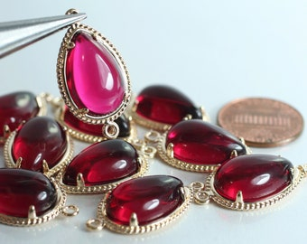 Promotion SALE 25% off Framed ruby red glass drop charm connector, earring componenet, necklace pendant, 2 pcs (item ID G51N09GPN)