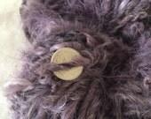 Logwood naturally dyed handspun bulky mohair yarn 32 yards purple soft curly textured hair weaving felting lavender plant dye natural dye