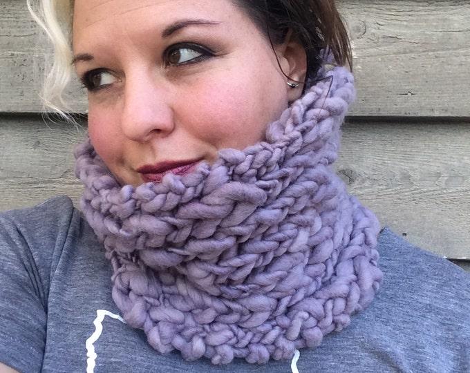 Logwood dyed natural dye purple  handspun handknit soft cowl