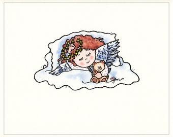 Sleepy Time Angel print, Angel Print, Angel Picture, Sleepy Angel, Print from Watercolor, Children's Decor, Original Art, Print