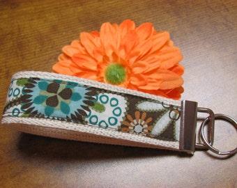 Key Fob - Key Chain - Womens Key Ring - Key Lanyard - Wristlet Key Fob - keychain holder Browns and teals
