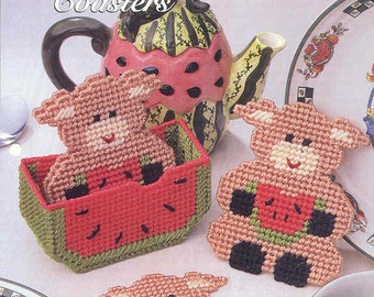 Hungry Pig Coasters ~ plastic canvas pattern