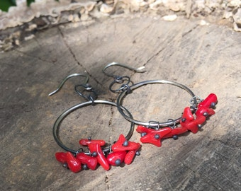 Red Coral Hoop Earrings