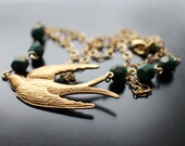 Swooping Swallow Necklace, Matte Gold Bird and Beaded Necklace, Fire Polish Glass Beads, Woodland Necklace, Graduation Necklace, Gift Box