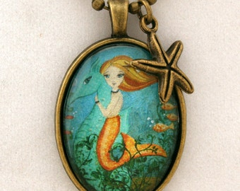 Mermaid Necklace-Childs necklace - Girls Accessories- Mermaid Jewelry- Gift Under 20- Stocking Stuffer-Childrens Jewelry