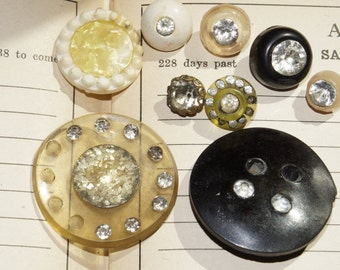 8 vintage assorted shabby rhinestone  buttons
