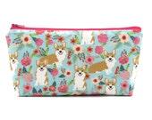 Corgi Dog Cosmetic Bag, Zip Pouch, Makeup Bag, Pencil Case, Zipper Bag, Fun Gift