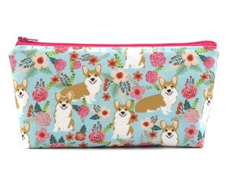 Corgi Dog Cosmetic Bag, Zip Pouch, Makeup Bag, Pencil Case, Zipper Bag, Fun Gift