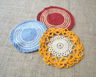 Crocheted Doilies, Set of Three Doilies, Vintage Doilies, Red Doily, Blue Doily, Orange Doily, Striped Doily, Small Doilies, Cotton Doilies