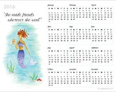 Mermaid Art  - 2016 Calendar