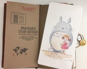 Watercolor Illustration Laminated Shitajiki Pencil Totoro & Mei for Travelers Notebook