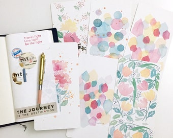 Florals Hexagons and Circles Watercolor Illustration Laminated Shitajiki Pencil Board for Travelers Notebook