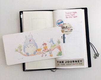 Watercolor Illustration Laminated Shitajiki Pencil Board Totoro & Friends for Travelers Notebook