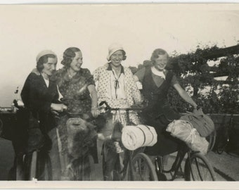 vintage photo 1929 Young Women Bicyle Picnic 2 photo lot