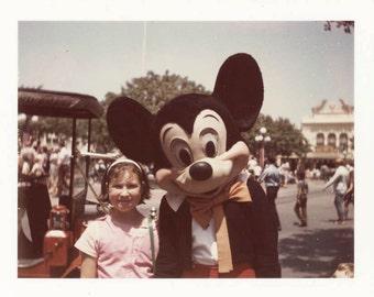 Vintage photo color photo 1968 Polaroid Mickey Mouse w My Sister Main St Disneyland