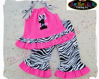 Girl Minnie Mouse Outfit Pant Set Custom Boutique Clothing Zebra Pink Top Ruffle 3 6 9 12 18 24 month size 2T 2 3 4 5 6 7 8 T
